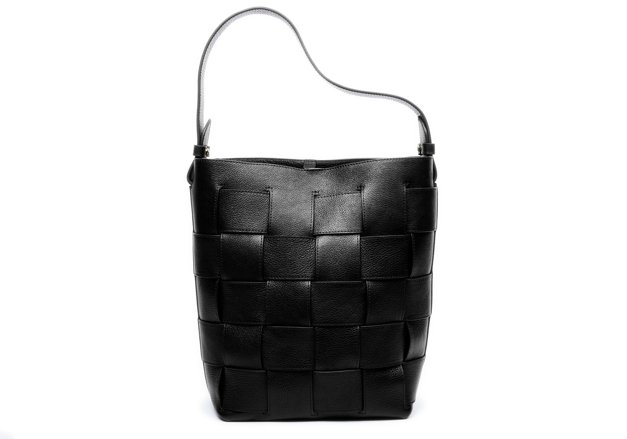 Woven Leather Bucket Shoulder Bag Black