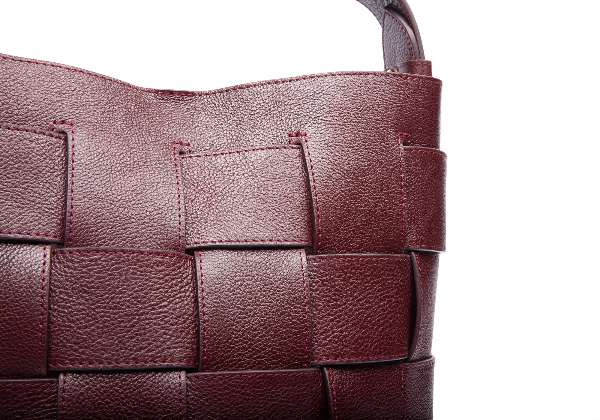 Woven Leather Bucket Shoulder Bag Cordovan