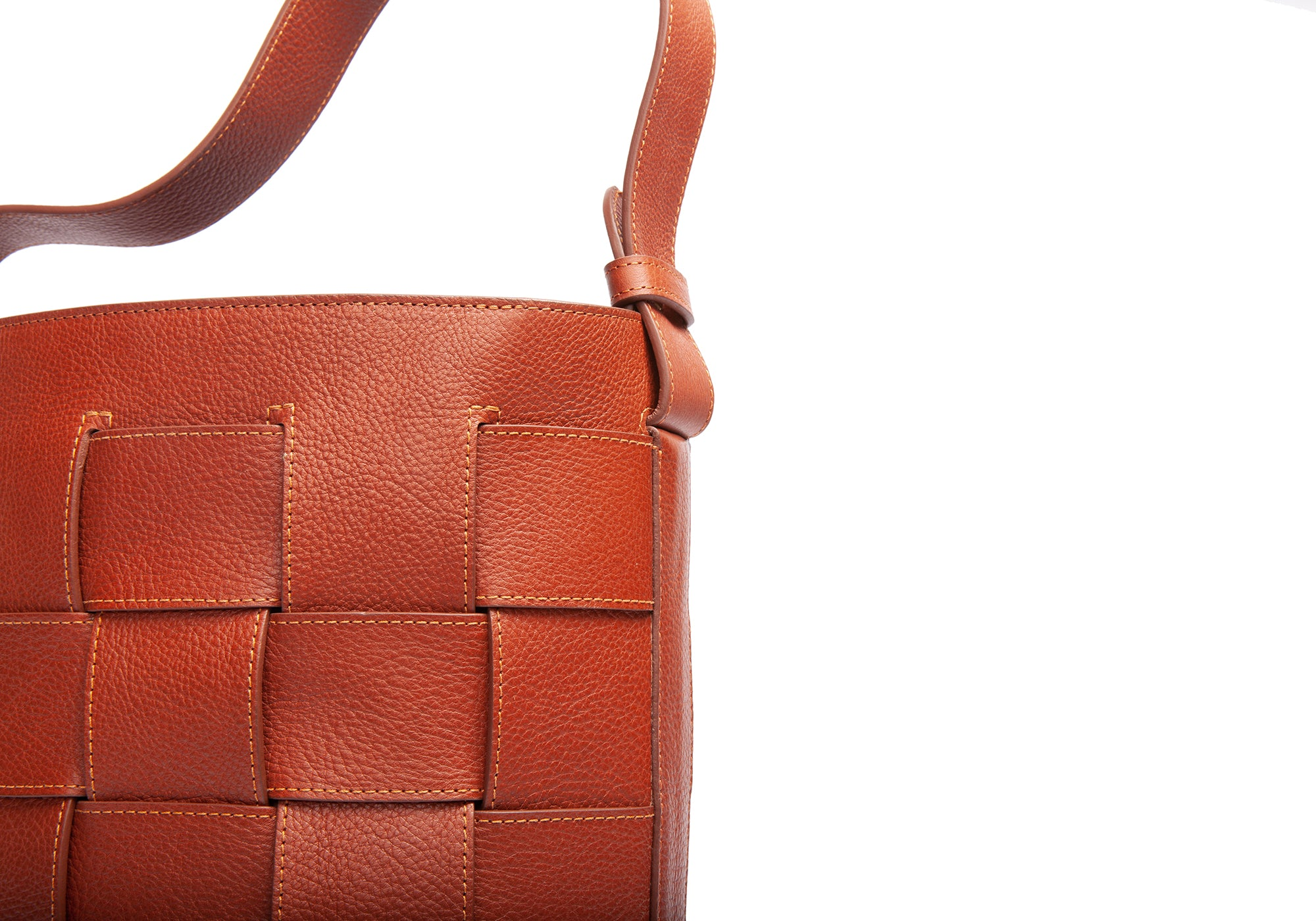 Woven Leather Bucket Shoulder Bag Saddle Tan