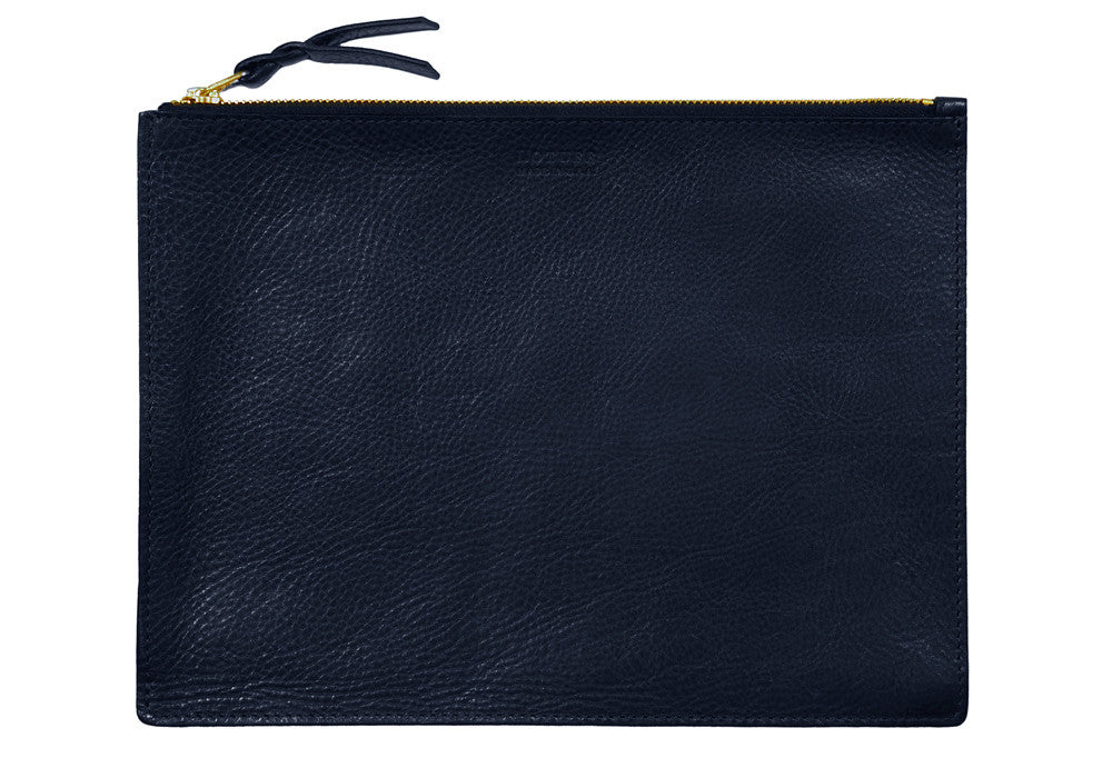 Front Leather View of Zipper iPad Pouch Navy