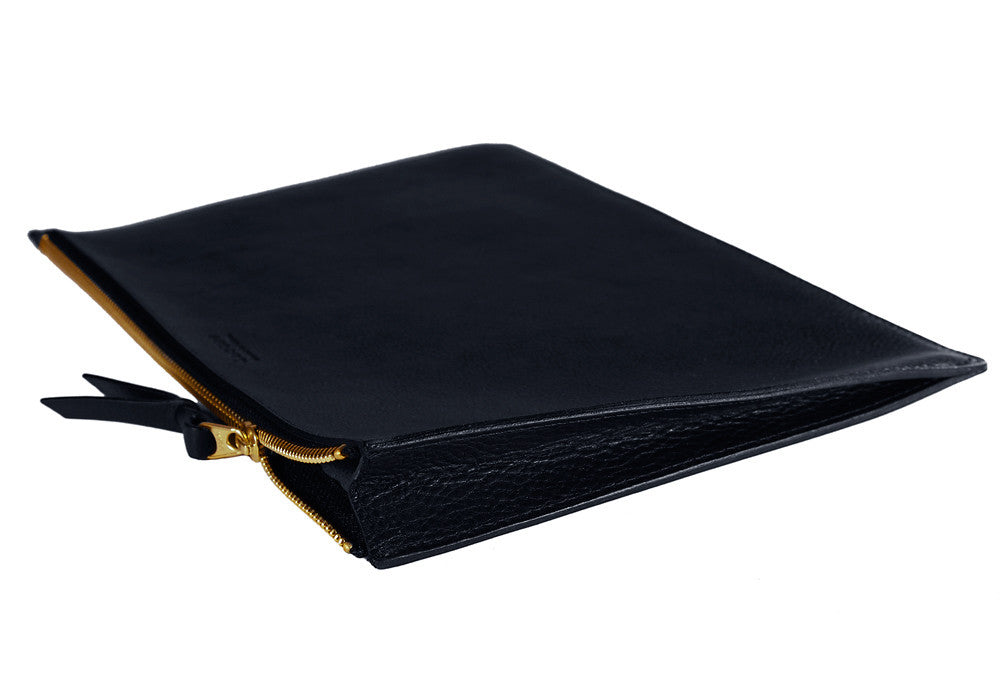 Side View of Zipper iPad Pouch Navy