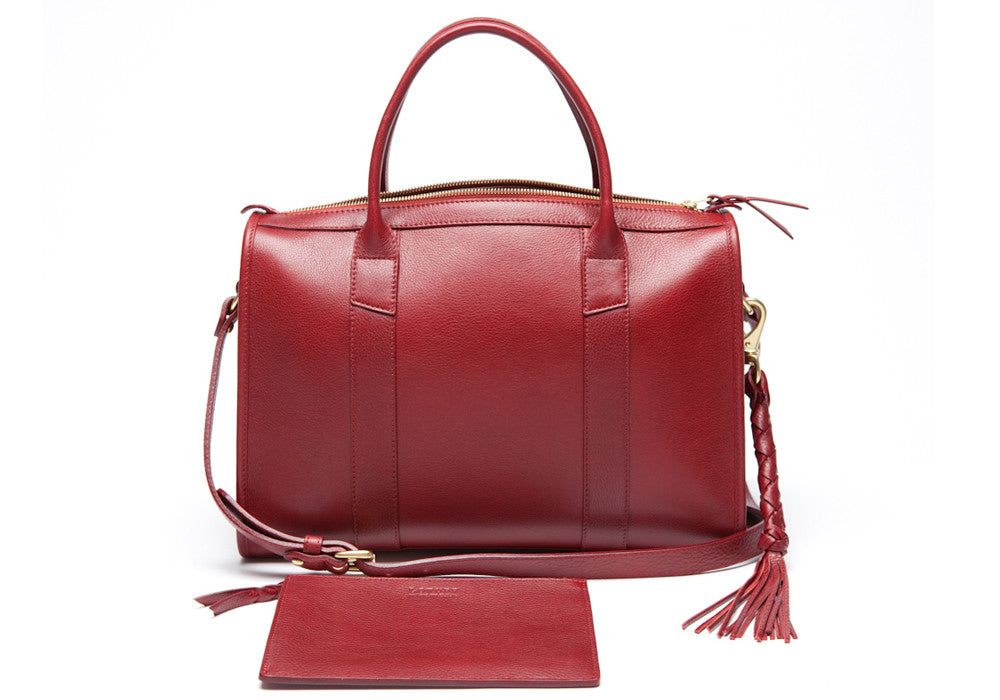 Front Leather View of Zipper Satchel #9 Red