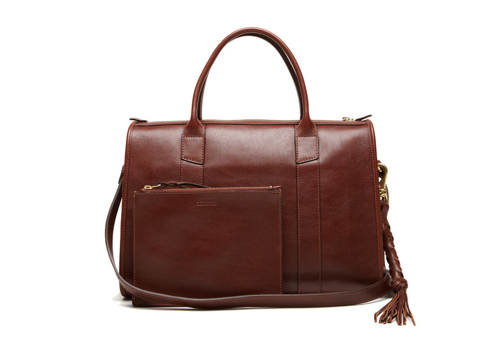 Front Leather View of Zipper Satchel #9 Chestnut