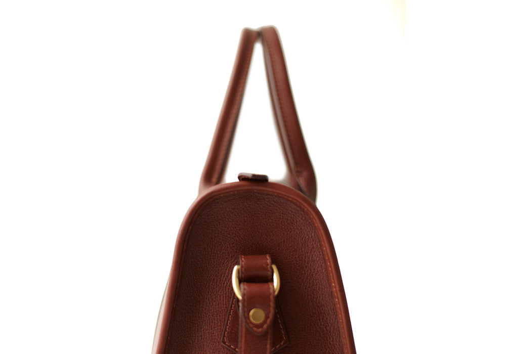 Side Leather View of Zipper Satchel #9 Chestnut
