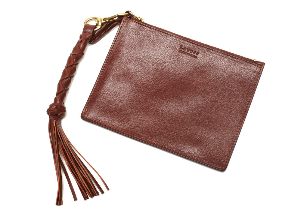 Removable Leather Pouch of Zipper Satchel #9 Chestnut
