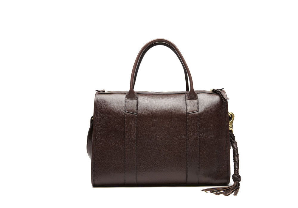 Front Leather View of Zipper Satchel #9 Chocolate