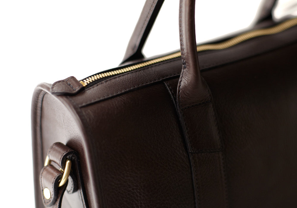 Side Leather View of Zipper Satchel #9 Chocolate