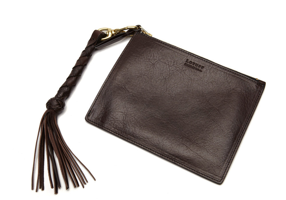 Removable Leather Pouch of Zipper Satchel #9 Chocolate