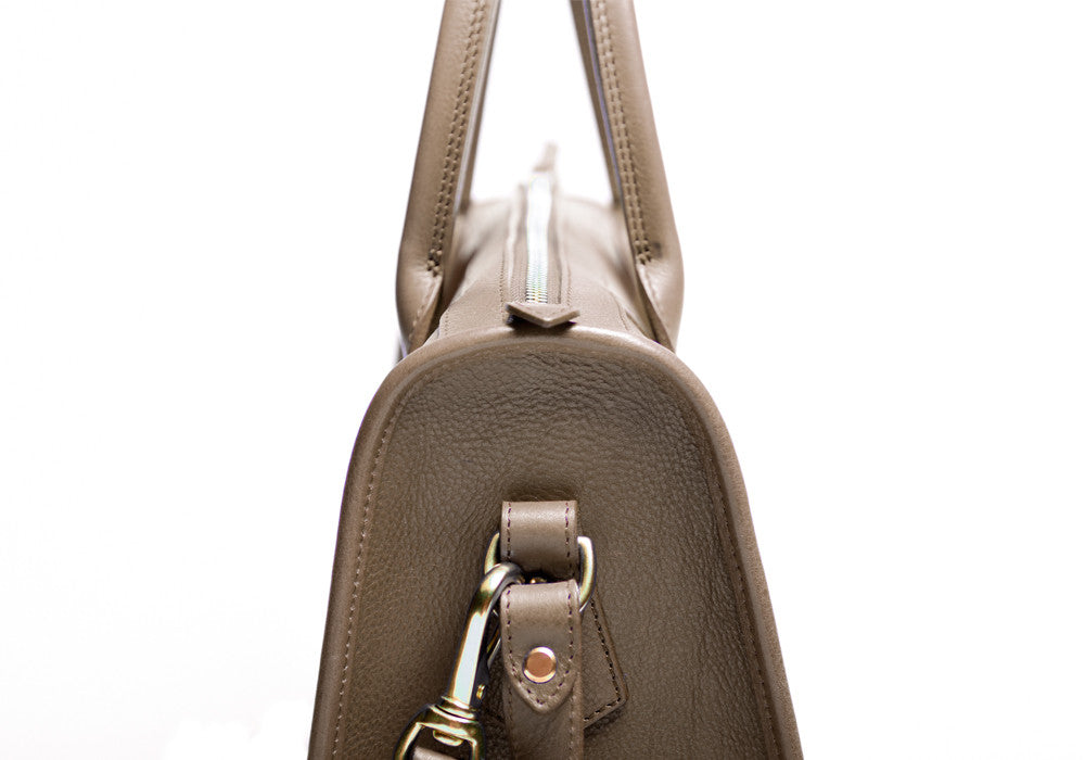 Side Leather View of Zipper Satchel #9 Clay