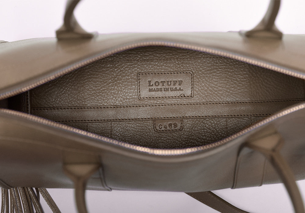 Inner Leather View of Zipper Satchel #9 Clay