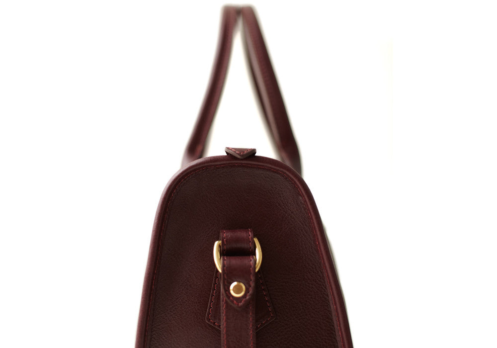 Side Leather View of Zipper Satchel #9 Cordovan