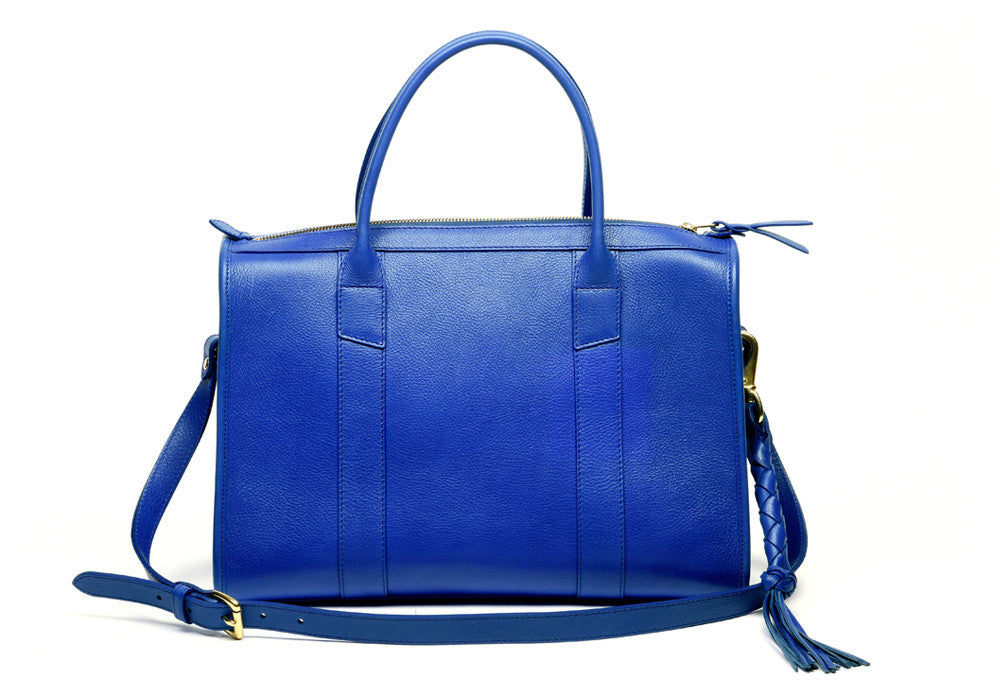 Front Leather View of Zipper Satchel #9 Electric Blue