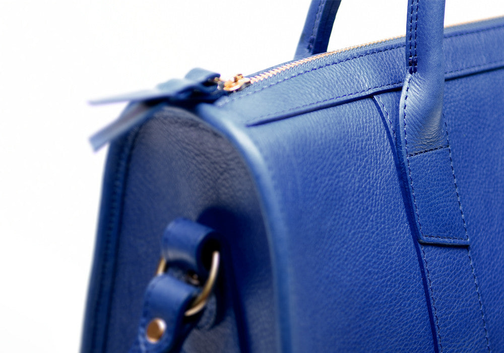 Side Leather View of Zipper Satchel #9 Electric Blue