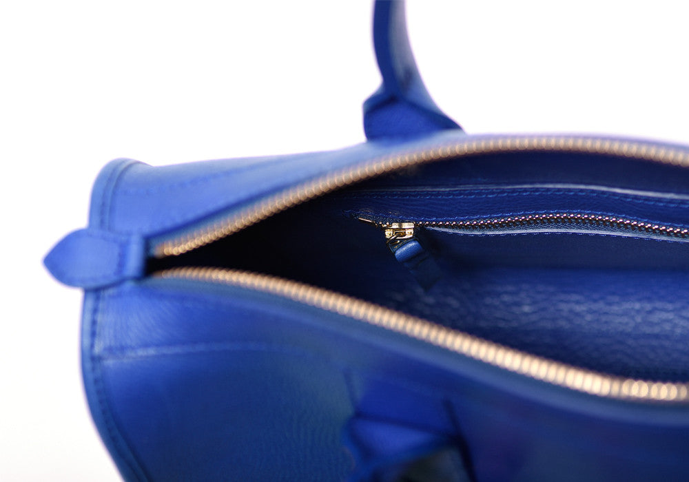 Inner Leather View of Zipper Satchel #9 Electric Blue