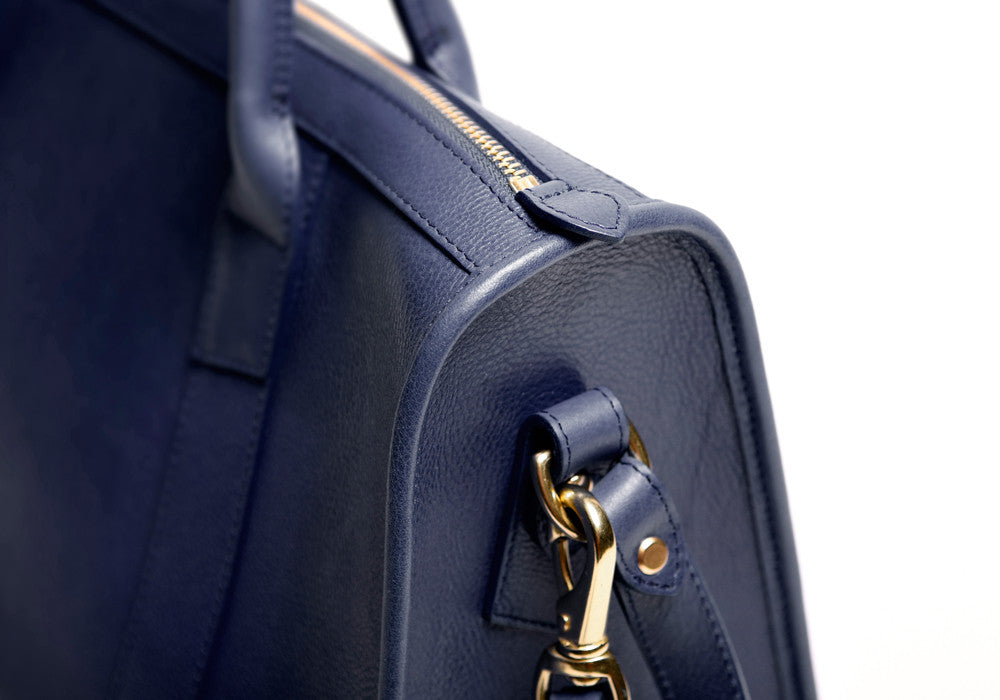 Side Leather View of Zipper Satchel #9 Indigo