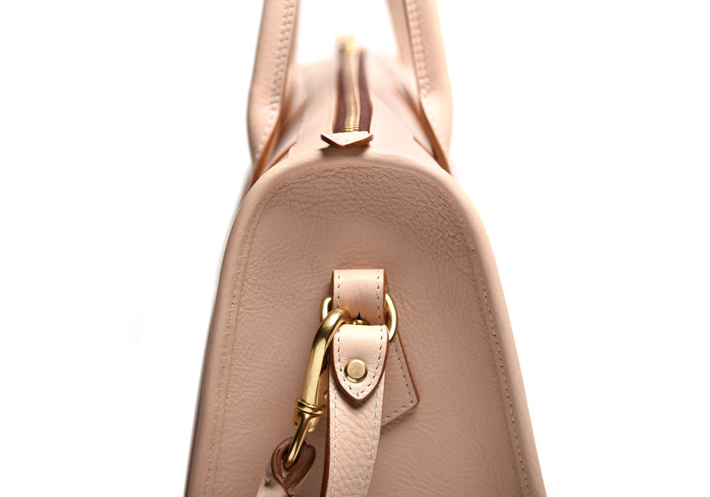 Side Leather View of Zipper Satchel #9 Natural