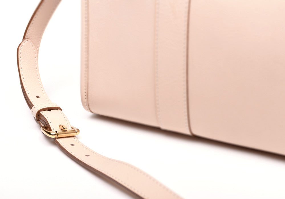 Leather Buckle and Strap of Zipper Satchel #9 Natural