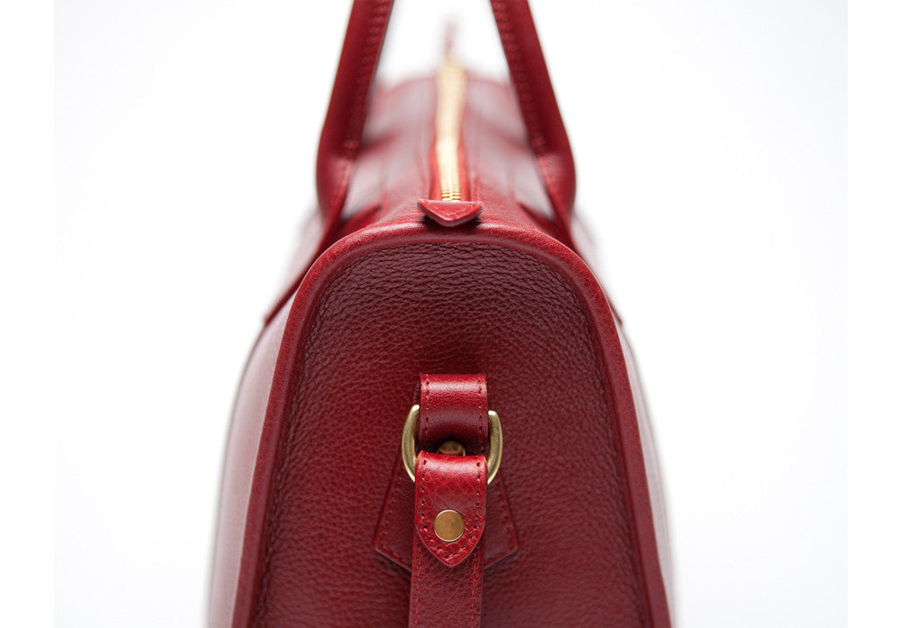 Side View of Zipper Satchel #9 Red