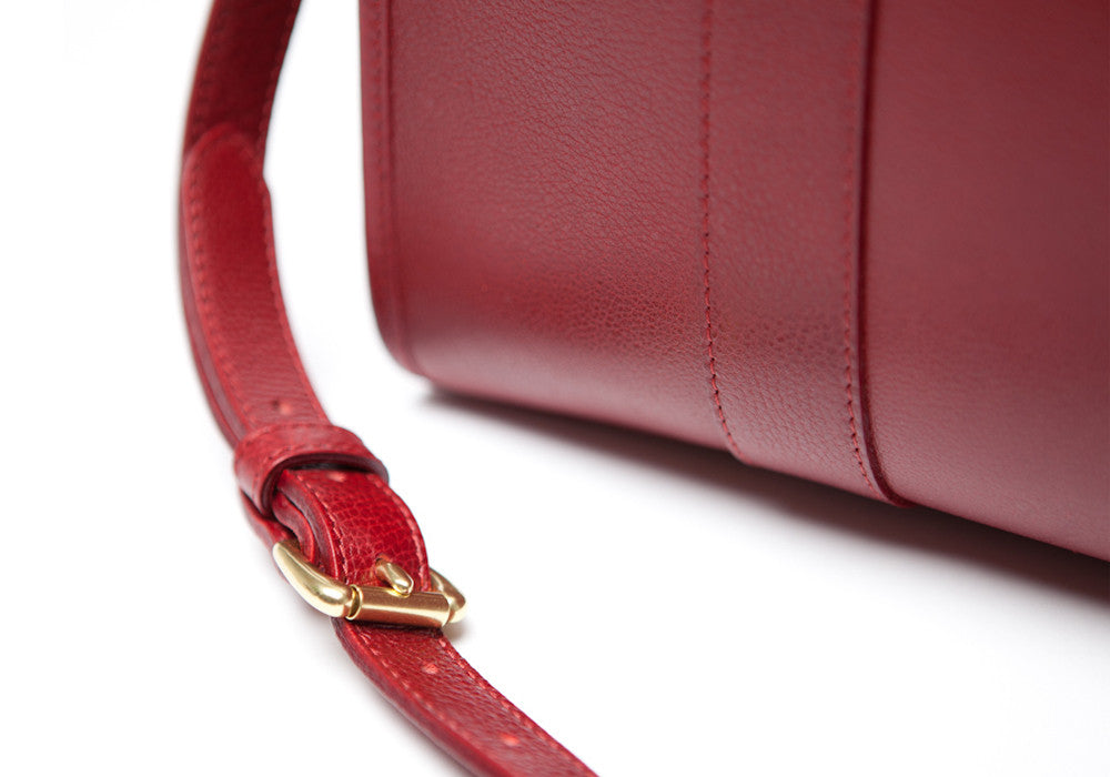 Leather Strap of Zipper Satchel #9 Red