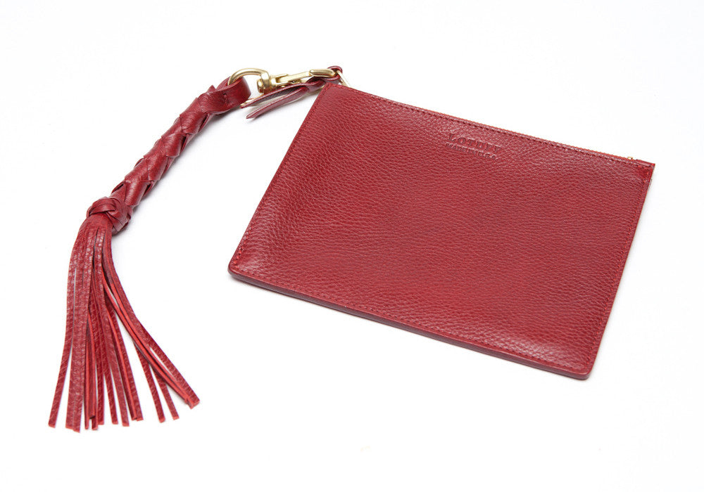 Removable Leather Pouch of Zipper Satchel #9 Red