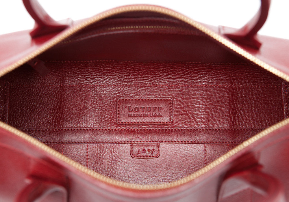 Inner Leather View of Zipper Satchel #9 Red