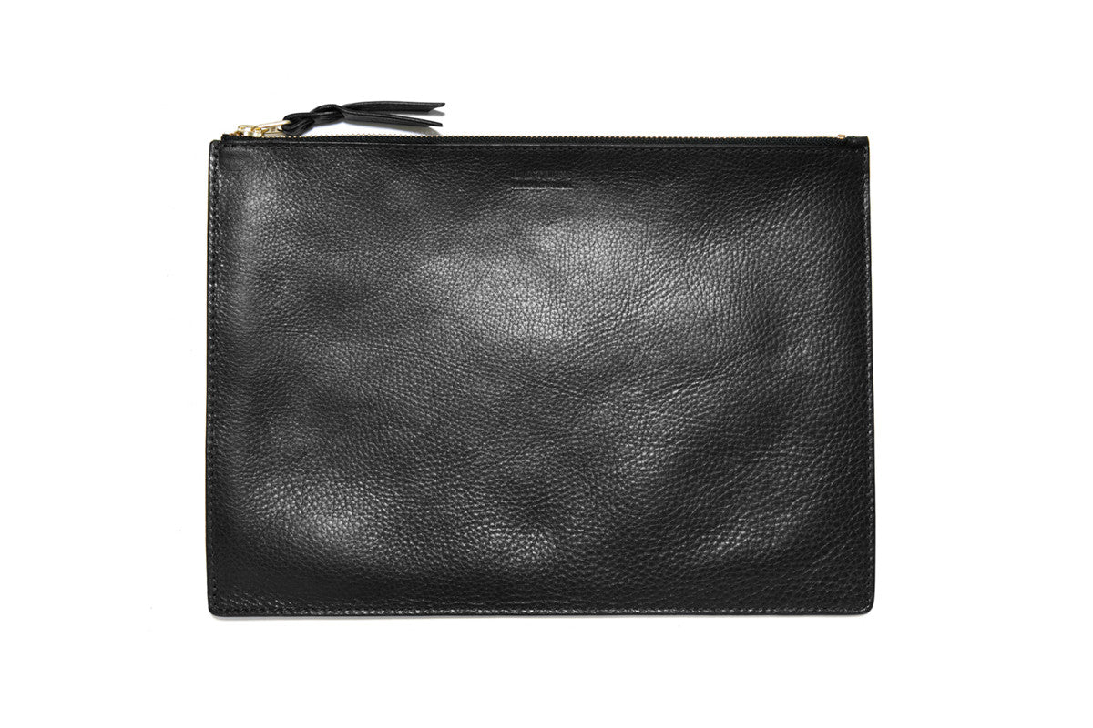 Zipper iPad Mini Pouch Black|Front Leather View