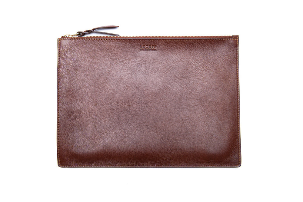 Zipper iPad Mini Pouch Chestnut|Front Leather View