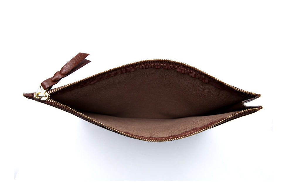 Inner Leather View of Zipper iPad Mini Pouch Chestnut