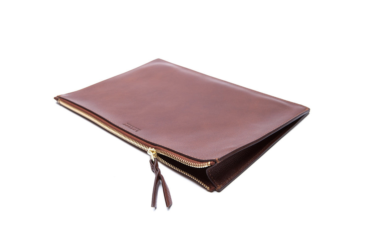 Front Leather View of Zipper iPad Mini Pouch Chestnut