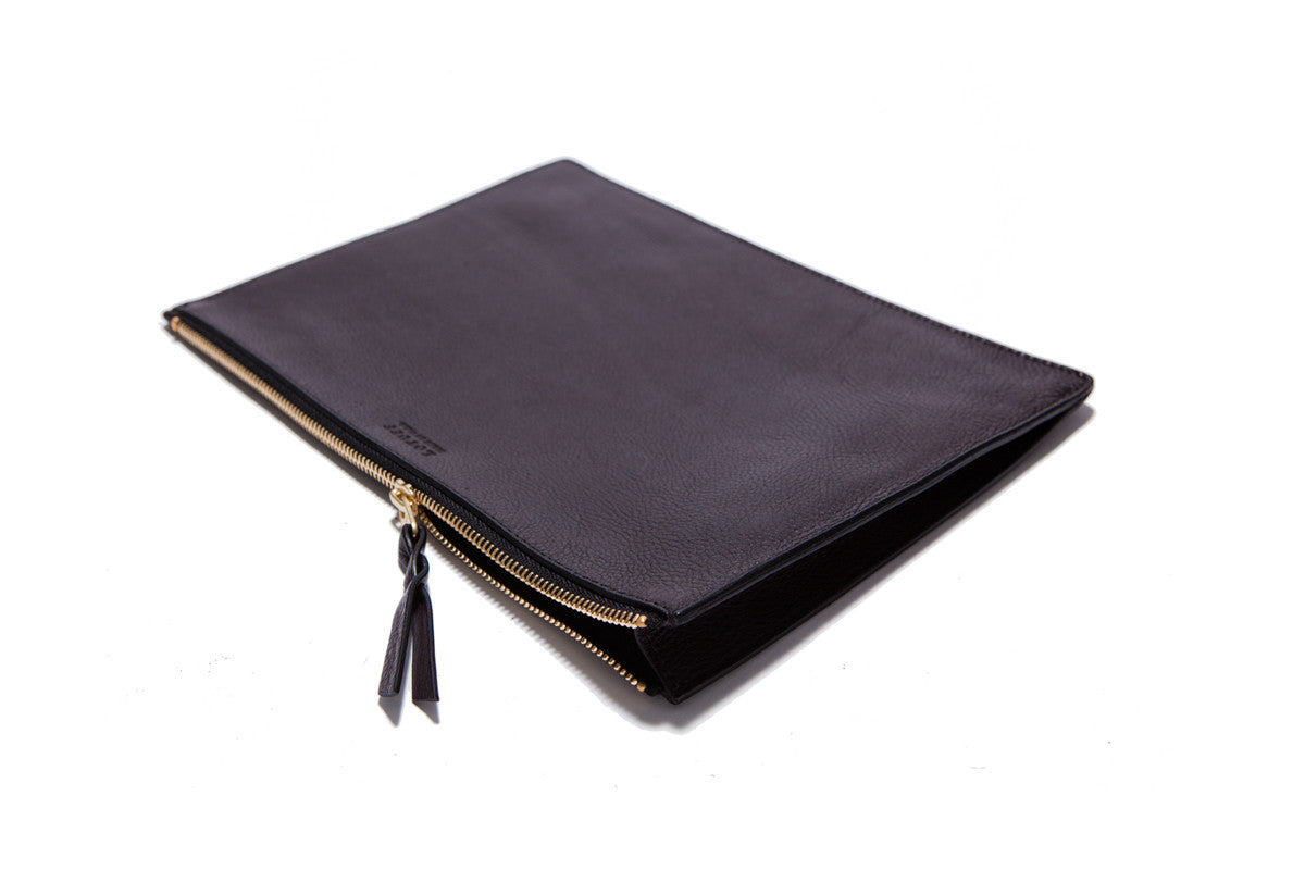 Front Leather View of Zipper iPad Mini Pouch Chocolate