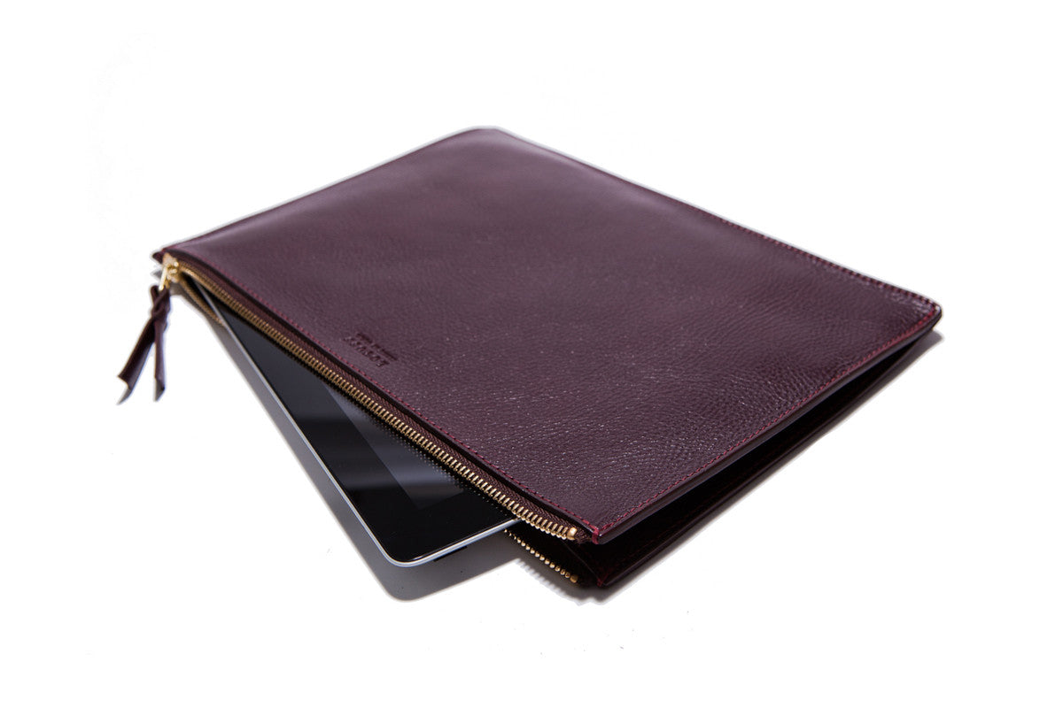 Front Leather View of Zipper iPad Mini Pouch Cordovan