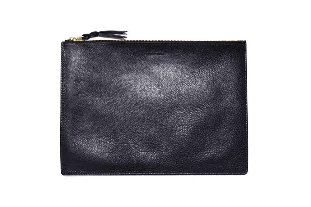Front Leather View of Zipper iPad Mini Pouch Navy