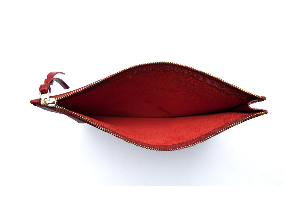 Inner Leather View of Zipper iPad Mini Pouch Red