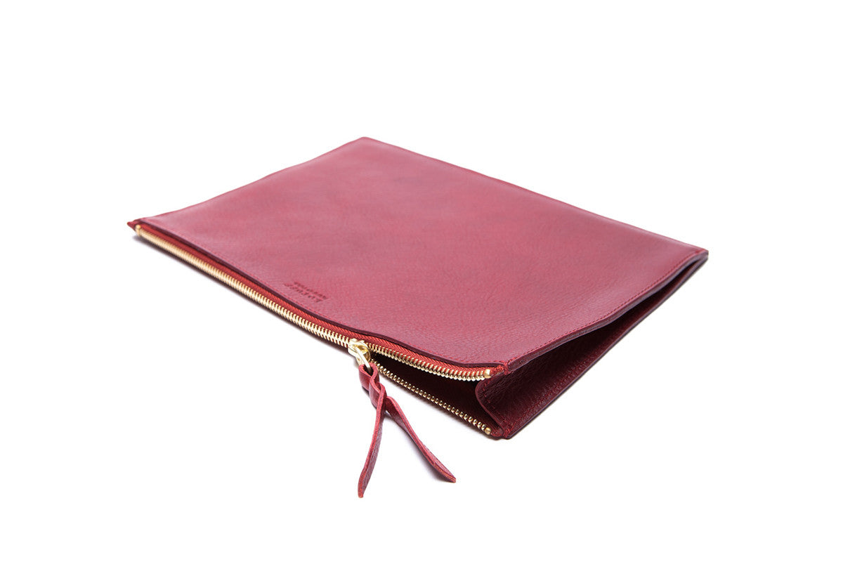 Front Leather View of Zipper iPad Mini Pouch Red