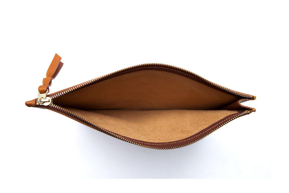 Inner Leather View of Zipper iPad Mini Pouch Tan