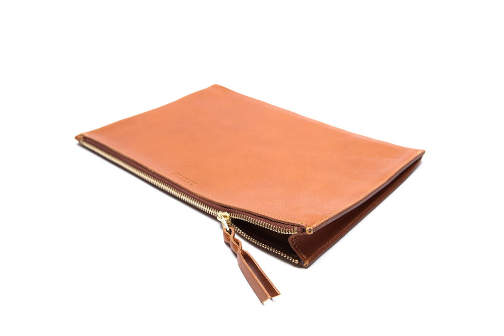 Front Leather View of Zipper iPad Mini Pouch Tan