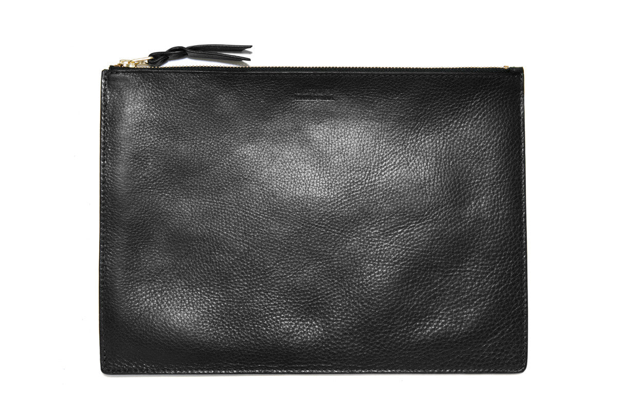 Front Leather View of Zipper Macbook Pouch Black
