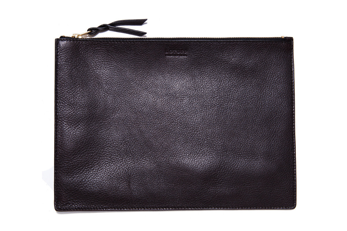 Front Leather View of Zipper PC Pouch Chocolate