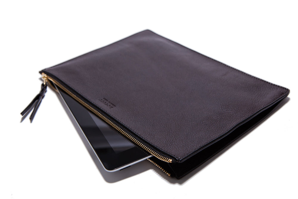 Front Leather View of Zipper iPad Pouch Chocolate