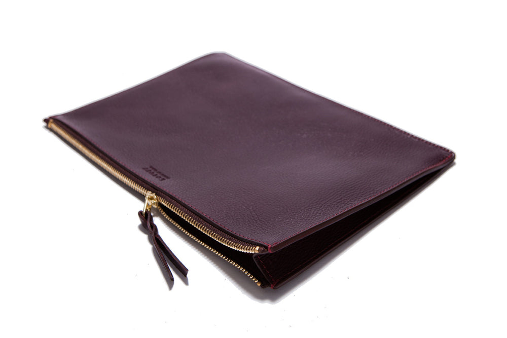 Front Leather View of Zipper iPad Pouch Cordovan