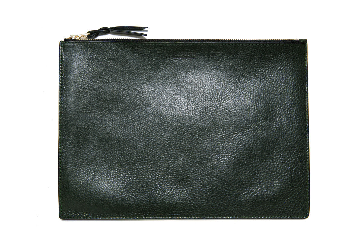 Front Leather View of Zipper iPad Pouch Green