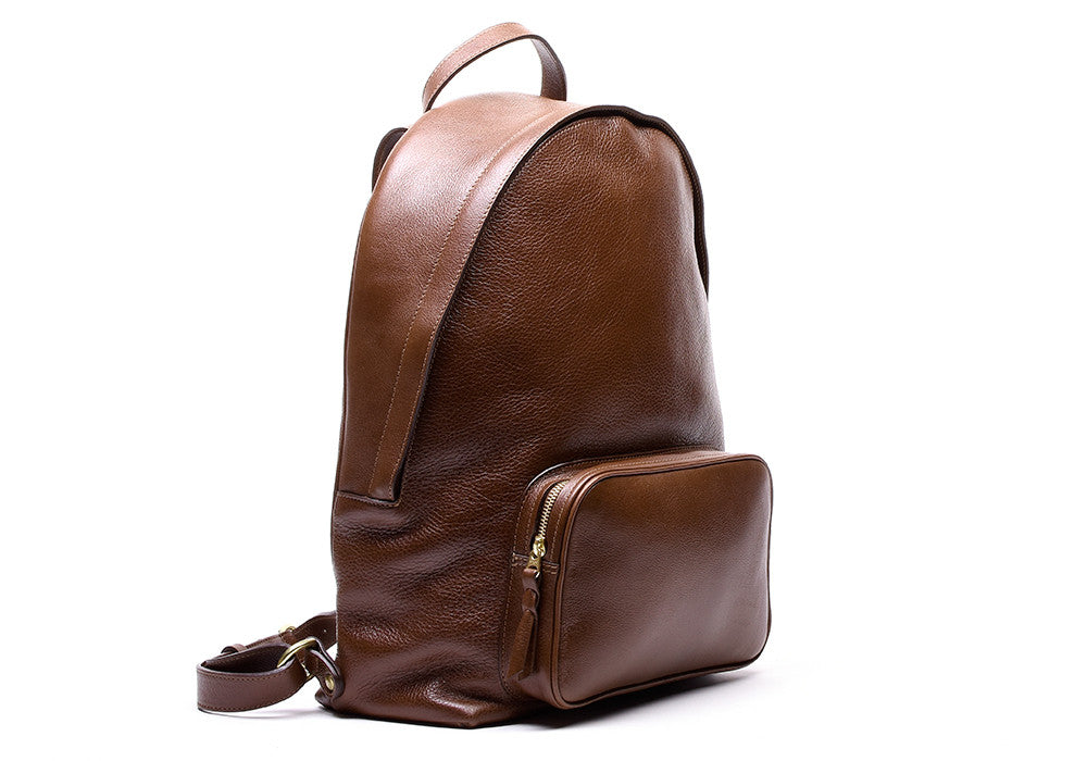 Front Leather View of Leather Zipper Backpack Chestnut