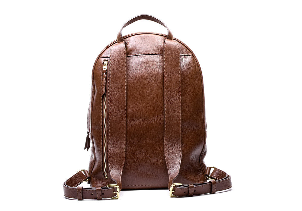 Back Leather Strap View of Leather Zipper Backpack Chestnut