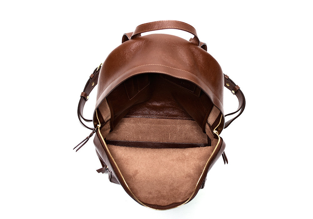 Inner Leather View of Leather Zipper Backpack Chestnut