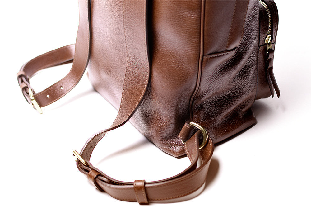 Leather Strap Bottom of Leather Zipper Backpack Chestnut