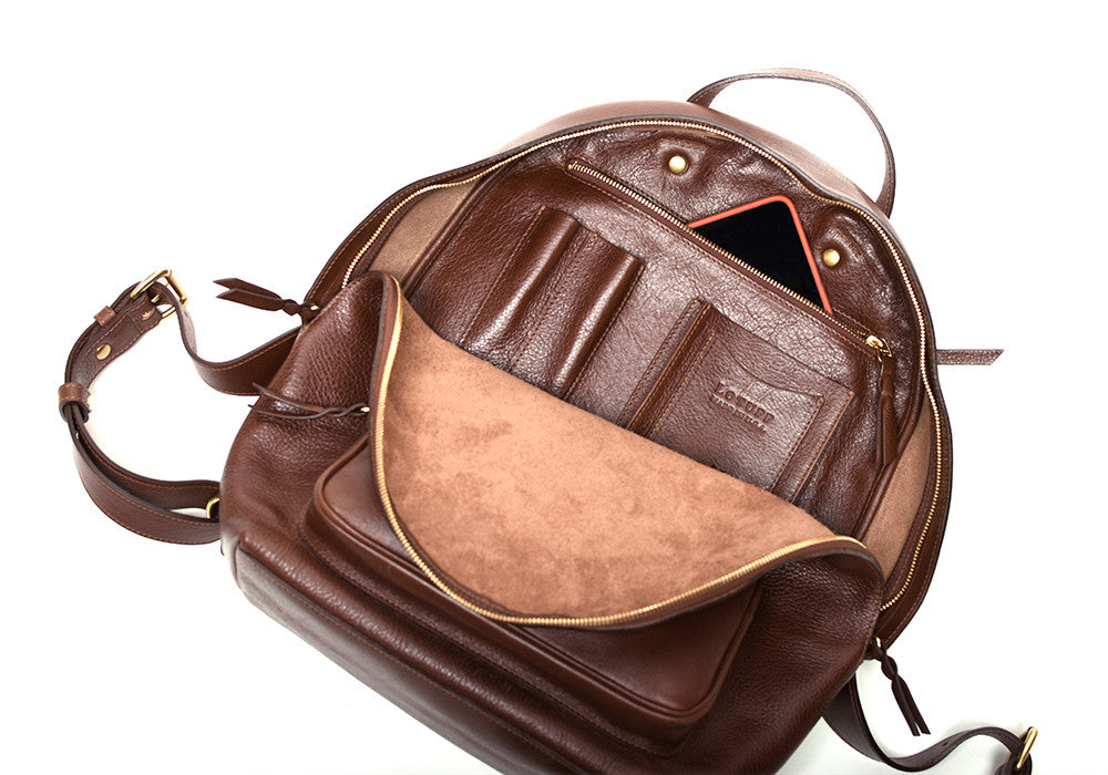 Inner Leather Pocket of Leather Zipper Backpack Chestnut
