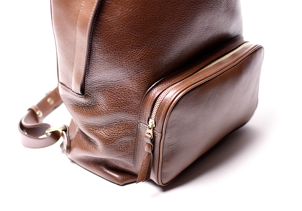 Front Leather Pocket of Leather Zipper Backpack Chestnut