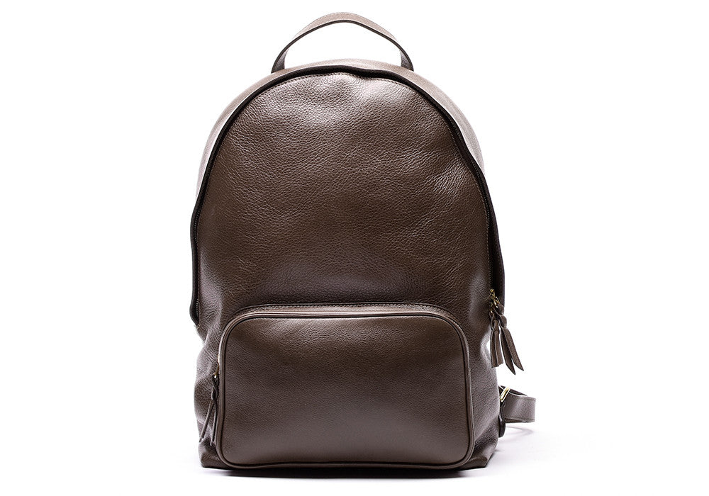 Front Leather View of Leather Zipper Backpack Chocolate