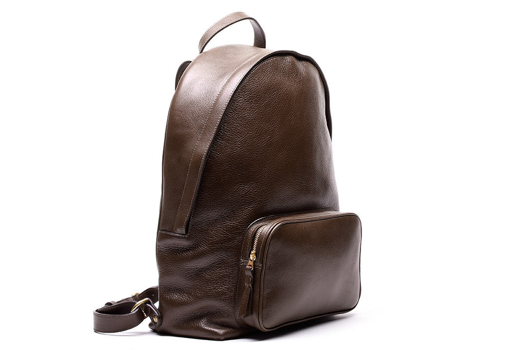 Side view of Leather Zipper Backpack Chocolate