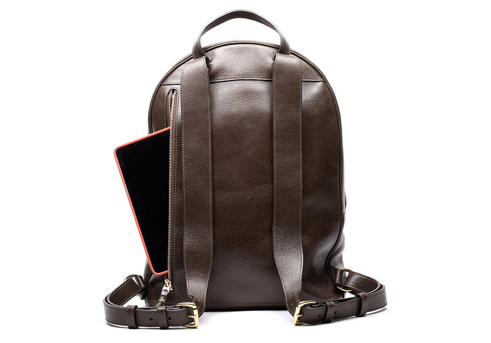 Back Leather Straps of Leather Zipper Backpack Chocolate
